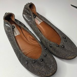 Lanvin | Iridescent Gold and Silver Ballet Flats